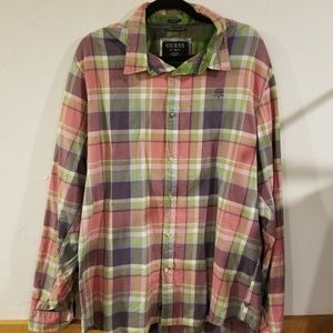 Guess Pink and Purple plaid button down shirt XL